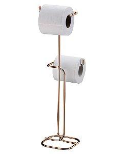 Suporte Papel Higiênico Duplo de Chão Aço Rosé Gold 1176rg - Future