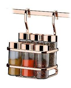 Suporte Porta Condimentos e Temperos 6 Galhetas Vidro para Barra Rosé Gold 2808rg - Future