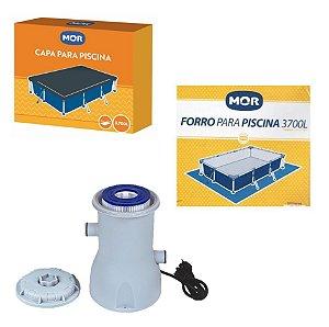 Kit Filtro 2200 L/h + Capa + Forro Para Piscina Premium 3700 L - Mor