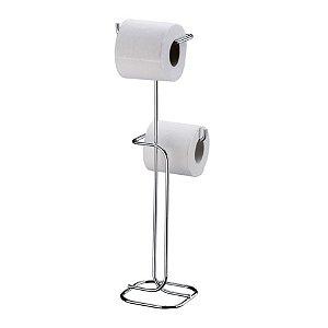 Suporte Porta Papel Higiênico Duplo De Chão Cromado Banheiro 1176 - Future