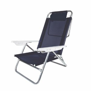 Cadeira Reclinável 6 Posições Com Almofada Alumínio Praia Camping Piscina - Mor - Azul Marinho