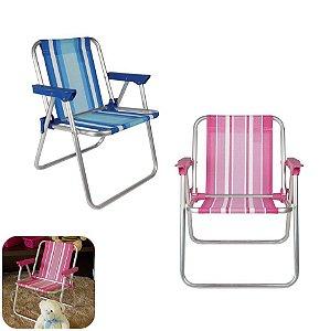 Kit 2 Cadeira Infantil Alta Alumínio Praia Camping - Mor