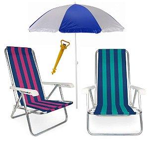 Kit 2 Cadeira Reclinável 4 Posições Alumínio + Guarda Sol 1,80 m Aço + Saca Areia - Mor