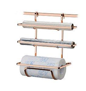 Suporte Porta Rolo Triplo Papel Toalha Barra Rosé Gold Cozinha - 2801RG Future