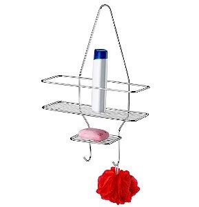 Suporte Porta Shampoo Sabonete De Registro Prateleira Banheiro Cromado - 1047 Future