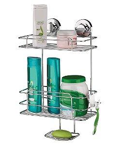 Suporte Porta Shampoo Sabonete Duplo Aço de Parede com Ventosa 4025 - Future
