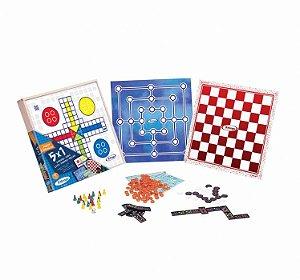Jogo Tabuleiro 5 Em 1 Dama Ludo Trilha Dominó Loto Brinquedo - 65598 Xalingo