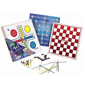 Jogo Tabuleiro 4 Em 1 Dama Ludo Trilha Pega Vareta Brinquedo - 65576 Xalingo
