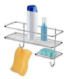 Suporte Porta Shampoo Sabonete Prateleira Banheiro Parede Cromado - 1048 Future
