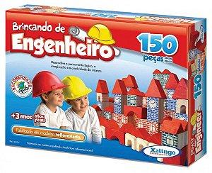 Jogo Brincando De Engenheiro Construir 150 Peças Blocos Madeira - 53054 Xalingo