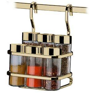 Suporte Porta Temperos Condimentos 6 Potes Para Barra Cozinha Dourado - 2808DD Future
