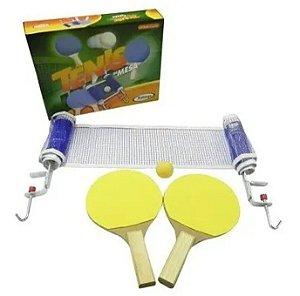 Conjunto Tênis Mesa Ping Pong Raquetes Rede Bolinha Suportes - 54509 Xalingo