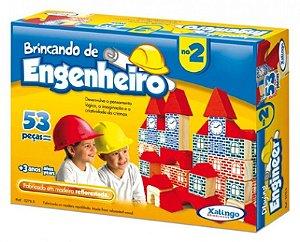 Brincando De Engenheiro 53 Peças Montar Blocos Madeira - 52765 Xalingo