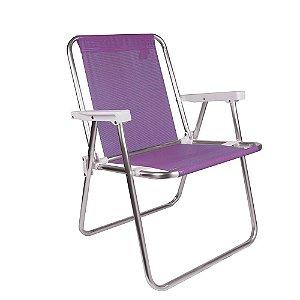Cadeira Alta Alumínio Sannet Praia Piscina Camping - Mor - Lilás