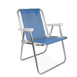 Cadeira Alta Alumínio Sannet Praia Piscina Camping - Mor - Azul