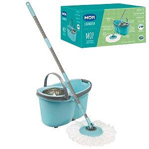 Balde Mop Esfregão Com Rodinhas Limpeza Prática - Mor