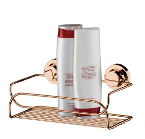 Suporte Prateleira Multiuso Porta Shampoo Rosé Gold Com Ventosa 4050rg - Future