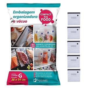 Saco A Vácuo G Organizador De Alimentos Com 5 Sacos 30x34cm Geladeira - 1399 Paramount
