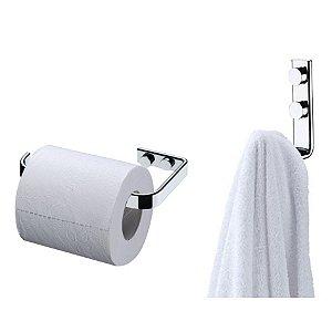 Kit Banheiro Cromado Gancho Porta Toalha  + Suporte Papel Higiênico - Future