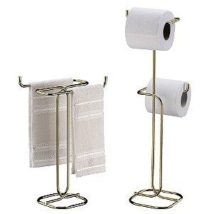 Kit Banheiro Dourado Porta Toalha Duplo Bancada + Porta Papel higiênico Duplo Chão - Future