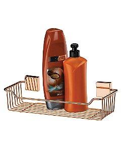 Kit Banheiro Prateleira Suporte Shampoo + Saboneteira Rosé Gold - Future