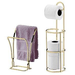Kit Banheiro Dourado Porta Toalha Duplo + Porta Papel higiênico Triplo - Future