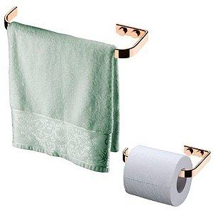 Kit Banheiro Rosé Gold Toalheiro Porta Toalha 22cm + Suporte Papel Higiênico - Future