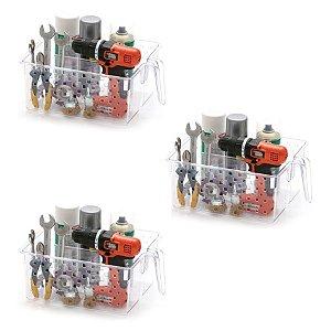 Kit 3 Cesto Organizador Com Alça e Divisória Armário Utensílios 877 - Paramount