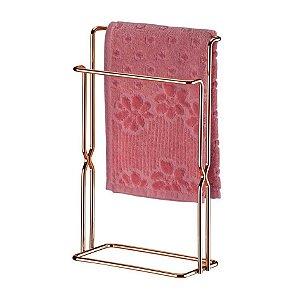 Kit Banheiro Suporte Papel Higiênico + Porta Toalha Rosto Pia Rosé Gold - Future