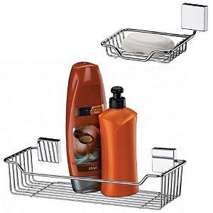 Kit Banheiro Aço Inox Suporte Shampoo + Porta Sabonete Parede - Future