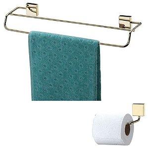 Kit Banheiro Dourado Toalheiro Duplo 45cm + Porta Papel Higiênico - Future