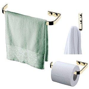 Kit Banheiro Dourado Porta toalha 22cm + Gancho + Suporte Porta Papel Higiênico - Future
