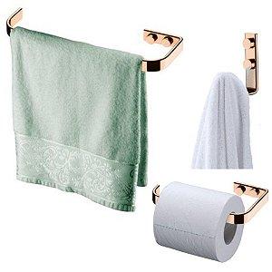Kit Banheiro Rosé Gold Porta toalha 22cm + Gancho + Suporte Papel Higiênico - Future