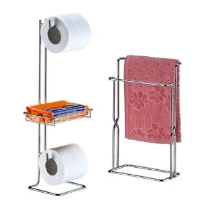 Kit Banheiro Porta Papel Higiênico + Toalheiro Rosto Duplo Cromado - Future