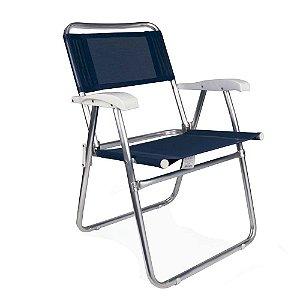 Cadeira Alumínio Praia Reforçada Até 120Kg Piscina Camping Master - 2102 Mor - Azul Marinho