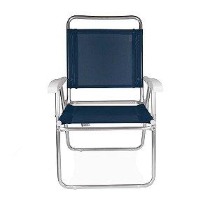 Cadeira Alumínio Praia Encosto Alto Até 120Kg Piscina Camping Master Plus - 2112 Mor - Azul