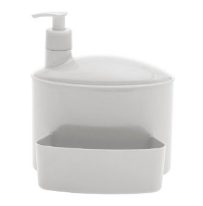 Porta Suporte Dispenser 1 Litro Detergente Esponja Pia - 732 Paramount - Branco