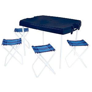 Mesa Prática Dobrável Com 4 Banquetas Camping Maleta - Mor