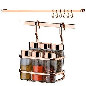 Kit Suporte Potes Porta Temperos Condimentos + Barra Piatina 45cm Ganchos Rose Gold - Future
