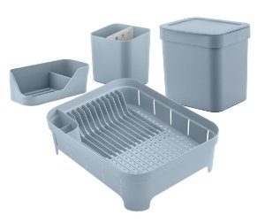 Kit Cozinha Escorredor De Louças Talheres Lixeira 4,7L Organizador De Pia Bancada Azul Glacial- Ou