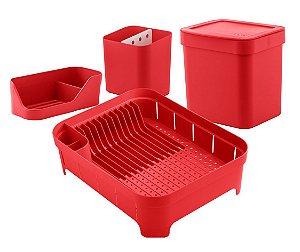 Kit Cozinha Escorredor De Louças Talheres Lixeira 4,7L Organizador De Pia Bancada Vermelho- Ou