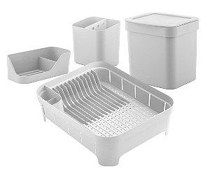 Kit Cozinha Escorredor De Louças Talheres Lixeira 4,7L Organizador De Pia Bancada Branco - Ou