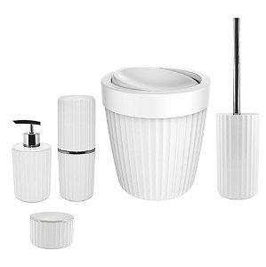 Kit Banheiro Lixeira Basculante Porta Algodão Escova Dente Dispenser Sabonete Suporte Escova Sanitária Branco - Ou