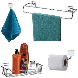 Kit Banheiro Aço Inox Toalheiro + Cabide + Suporte Shampoo +  Papeleira - Future