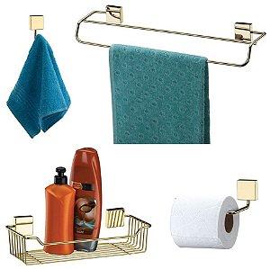 Kit Banheiro Dourado Toalheiro + Cabide + Suporte Shampoo +  Papeleira - Ouro Future