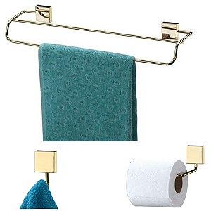 Kit Banheiro Dourado Toalheiro Duplo 45cm + Porta Papel Higiênico + Gancho - Future