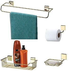 Kit Banheiro Toalheiro + Porta Shampoo + Saboneteira + Papeleira Dourado - Future