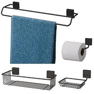 Kit Banheiro Toalheiro + Porta Shampoo + Saboneteira + Papeleira Preto Nero - Future