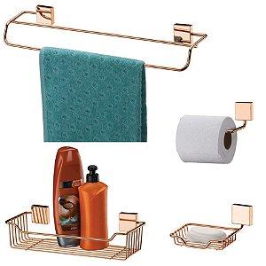 kit Banheiro Toalheiro + Porta Shampoo + Saboneteira + Papeleira Rosé Gold - Future