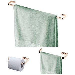 Kit Banheiro Toalheiro 60cm + Porta Toalha + Suporte Papel Higiênico Rosé Gold  - Future